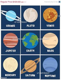 Limited Time Sale 35 OFF Solar System Planets by LittlePergola, $24.00