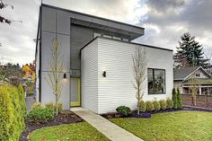 hardie plank siding Exterior Contemporary with cement panels concrete path cubist entry flat