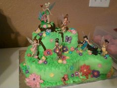 Tinkerbell & friends in Pixie Hollow. Daughters 4th birthday cake.