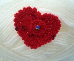Hand Crochet Red Cashmere Corsage Brooch by CraftsbySigita on Etsy