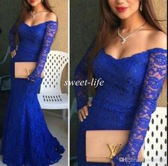 2015 Royal Blue Lace Evening Dresses Mermaid Off Shoulder Illusion Long Sleeve Sweep Train Sexy Fashion Celebrity Prom Dresses Party Gowns Online with $119.43/Piece on Sweet-life's Store | DHgate.com