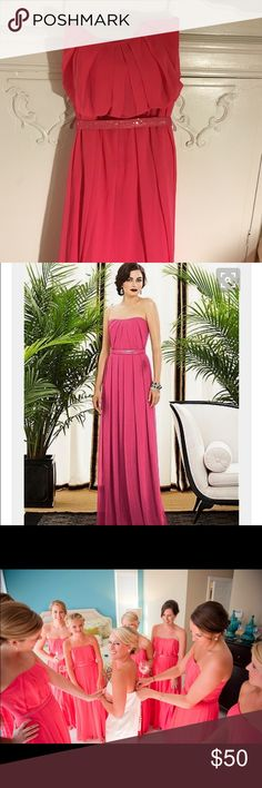 Size 6 Dessy Collection style 2886 in Honeysuckle Beautiful and flattering full length chiffon dress with inverted v-pleat detail at neckline and center back zip. Includes covered sequined belt which matches dress. Originally worn as a bridesmaid dress but could be worn as formal gown. Dessy Collection Dresses Wedding
