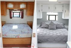 Easy RV Makeover with instructions to remodel RV interior, paint RV walls, paint 2 tone kitchen cabinets! LOVE!!