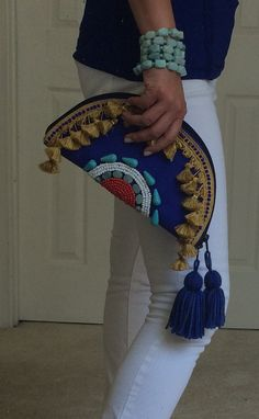 Boho Tribal Beaded Clutch