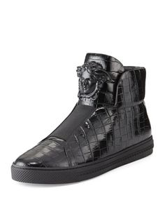 233fbea443 Versace Palazzo Idol Crocodile-Embossed Leather High-Top Sneaker