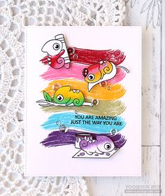Today I want to share with you my fun card with the recently released Clearly Besotted Colour Chameleon stamp set. Here is what I came up with: To start, I stamp… Cool Cards, Diy Cards, Lawn Fawn Stamps, Rainbow Card, Animal Cards, Card Making Inspiration, Card Maker, Creative Cards, Greeting Cards Handmade