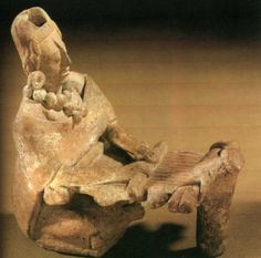 Both of these ceramic figurines are from the Maya burial island of Jaina in the Gulf of Campeche Images of the Goddess Ix-Chel Mayan culture