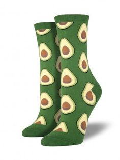 Holy guacamole... get your feet super cozy with these avocado socks from Socksmith. Product Details - Available in green - Toe Seam - Sizing: Sock size 9-11 will fit a women's shoe size 6-10 - 1 pair