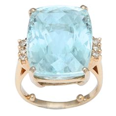 16 cts. Emerald cut Aquamarine in Gold Ring