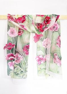 Long silk scarf Poppies scarves - hand painted poppy scarf  - pink & red poppies - flowers silk scarves - summer scarf