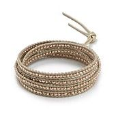 Chan Luu Five Wrap Leather Bracelet with Rose Gold Beads