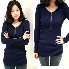 New Fashion Womens Slim Long Sleeve Thread Bottoming Shirt Knitted Sweater T-shirt 6 Colors