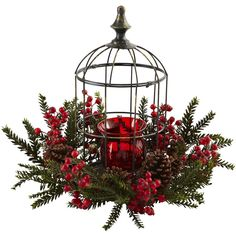 Here's a holiday decoration that is sure to light anyone's fire! This beautiful, elegant Pine Berry Birdhouse Candelabrum is easily one of the most striking pieces you can display. With a deep red candelabrum, Christmas Lanterns, Christmas Table Decorations, Rustic Christmas, Christmas Home, Christmas Wreaths, Christmas Picks, Holiday Centerpieces, Flower Centerpieces, Christmas Holidays