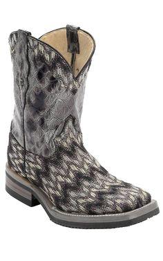 Ferrini Ladies Grey/Purple/Black Zig-Zag Chevron Cowgirl Cool w/Gator Print Top Double Welt Square Toe Western Boots