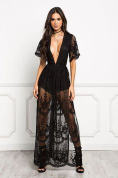 This long sheer dress exhibit brilliant design with beautiful lace patterns. Great for special occasions or use it for a dinner date. # Casual Outfits for dinner boho Claire Sensual Lace Dress – Style Me Love Long Sheer Dress, Maxi Dress With Slit, Dress Lace, Long Black Lace Dress, Long Lace Skirt, Sexy Maxi Dress, Lace Maxi, Lace Bra, Flare Dress