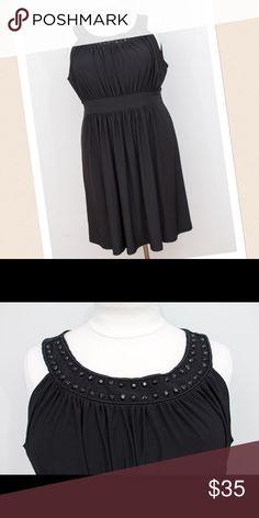 Black Beaded Neckline A-Line Dress - Size 3X Black Beaded Neckline A-Line Dress - Size 3X - Haani brand. Perfect party dress or wedding guest attire. Dresses Midi
