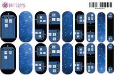 Dr Who inspired nail wraps.  Design your own in the Jamberry Nail Art Studio: http://www.kimd.jamberrynails.net/nas/