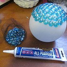 garden globes, crafts, mason jars, I started applying glass flat sided marbles Dollar Tree with this adhesive but they started sliding and I got impatient so I went to hot glue Worked great and no sli (Diy Garden Globes) Diy Garden, Garden Crafts, Garden Projects, Diy Projects, Garden Web, Balcony Garden, Garden Landscaping, Herbs Garden, Garden Care
