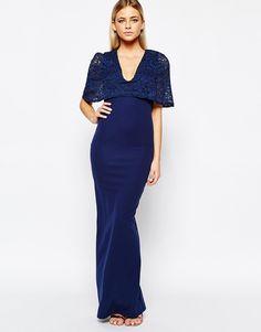 Club L Kimono Sleeve Maxi Dress with Lace Overlay