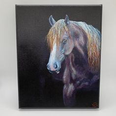 """""""Roan"""" Item Overview: • Framing: Unframed • Height: 8 Inches • Width: 8 Inches • Depth: 7/8 inches • Materials: gallery wrapped, back stapled, stretched cotton canvas & acrylic paint • Ships anywhere in the United States Item Details Thank you for visiting our shop and your interest in one of my"""