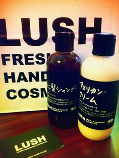 Bought LUSH liquid shampoo and conditioner- Honeykami shampoo & American cream. #lush #lushjapan #animalcrueltyfree #vegancosmetics #shampoo #conditioner #haircareproducts