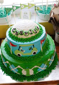 Golf theme cake, so cute!
