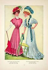 1908 fashion plate  *Love the stripey fabric and solid trim on the teal dress*