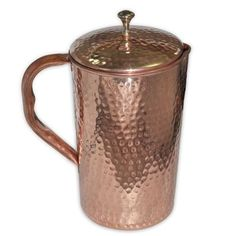 Pure Copper Jug Water Pitcher Storage Smooth Finish With Lid For Health Benefits