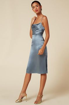 formal dresses silk baby blue dress and heels. Visit Daily Dress Me at for more inspiration women's fashion fall fashion, formal outfits, midi dresses, heels, Baby Blue Dresses, Satin Dresses, Prom Dresses, Midi Dresses, Blue Satin Dress, Satin Midi Dress, Gowns, Formal Evening Dresses, Elegant Dresses
