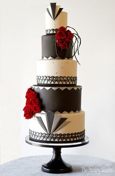 vintage hollywood style black silver ivory wedding cake bold red flowers