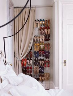 Pin for Later: 9 Shoe Storage Ideas That Don't Require Closet Space Concealed With a Curtain Turn an awkward alcove into a makeshift closet by adding a hanging shoe rack, curtain rod, and drapes. Hidden Storage, Wall Storage, Storage Spaces, Closet Storage, Vertical Storage, Bedroom Storage, Clothes Storage Ideas For Small Spaces, Extra Storage, Makeshift Closet
