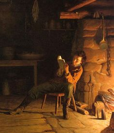Johnson, Eastman (b,1824)- Man Reading by Fireplace, I