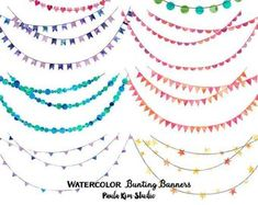 6 Bunting Digital clip art for Personal and Commercial use | Etsy Watercolor Circles, Watercolor Design, Collages, Cheer Banquet, Scrapbooking Digital, Ribbon Banner, Notebook Covers, Clipart, Bunting