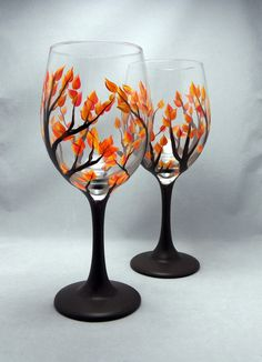 Hand Painted Fall Leaf Wine Glass, 20oz - Dishwasher Safe Hand Painted Wine Glass-Autumn Tree With Leaves on Etsy, $18.00