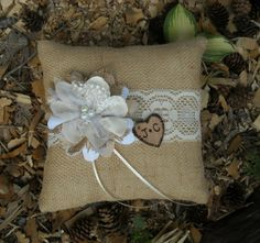 Personalized Ring Bearer Pillow - Rustic Burlap and Lace Wedding Pillow - Rustic Wedding Pillow