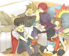 Green (Pokémon), Silver (Pokémon), Gold (Pokémon), Red (Pokémon), Lyra/Kotone (Pokémon), Marill, Typhlosion (by Kuronomine, Pixiv Id 1175336)