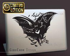 Mac decal sticke Macbook decal Batman and bats Macbook by gingchok, $11.50