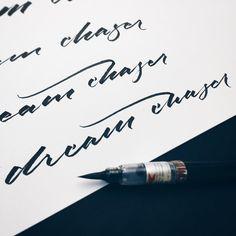 Dream chaser. Sketches for an idea... #makedaily #calligraphy #typographyinspired #brushpen #brushscript #ink #lettering #pentel #handstyles #thedailytype #caligrafia #graffiti #showusyourtype #graphicdesign #goodtype #typedaily #typespire #handmadefont #art