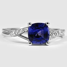 18K White Gold Sapphire Chamise Ring // Set with a 6x6mm Blue Cushion Sapphire #BrilliantEarth
