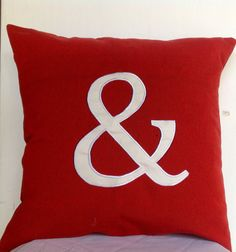 Ampersand throw pillow 18 inch Red Cushion Cover by Snazzyliving, $27.00