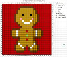 Crochet Gingerbread Man Pixel Square - Repeat Crafter Me The gingerbread man has been baking for the past couple days and now he is ready to join the Crochet Christmas Character Afghan! He is square number 6 of 9 Christmas themed crochet squares . Cross Stitching, Cross Stitch Embroidery, Cross Stitch Patterns, Embroidery Patterns, Crochet Squares, Crochet Blanket Patterns, Crochet Blankets, Crochet Granny, Granny Squares