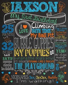Bubble Guppies themed first birthday chalkboard sign printable 16x20 customized via etsy