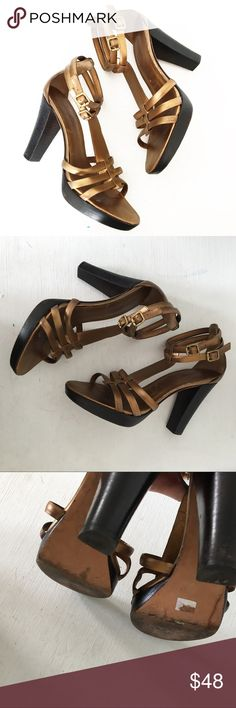 6b2bb3f4195 Banana Republic Bronze Leather Strappy Heels Greatly a pre-loved with very  minimal wear.