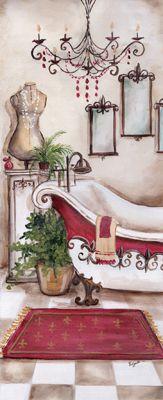 Tre Sorelle Studios: 'French Bath I' Bathroom Prints, Bathroom Wall Art, Papel Vintage, Vintage Paper, Dyi Painting, Tile Murals, Inspirational Wall Art, Decoupage Paper, Bible Art