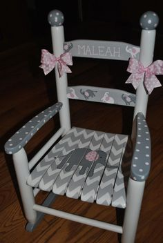 Handpainted Rocking Chair-Kids Rocking Chairs-Rocking Chair-Nursery Furniture-Baby Shower-Toddler Gift-Chevron- Pink Elephant-Girls - Chairs etc.