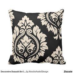 Decorative Damask Art I – Black & Cream (2-way) Throw Pillow