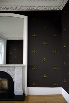 Napoleon Bee Wallpaper from Timorous Beasties in Black Painting Wallpaper, Fabric Wallpaper, Of Wallpaper, Timorous Beasties, Home Decor Furniture, My New Room, Decoration, Surface Design, Wall Murals