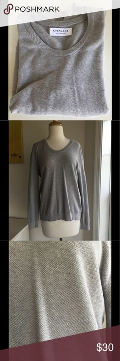 Everlane gray grey sweater Size: Large Lightweight sweater with 90% cotton and 10% cashmere. Color is a light silver gray. Size large which is about a 10-12. All season sweater! Everlane Sweaters Crew & Scoop Necks
