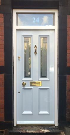 Fanlight frame and Grand Victorian front door with Etched glazing and numbered fanlight in Barnsley. Fanlight frame and Grand Victorian front door with Etched glazing and numbered fanlight in Barnsley. Front Door Porch, House Front Door, Glass Front Door, Glass Doors, Front Entry, Victorian Front Doors, Victorian Terrace, Victorian Homes, External Doors
