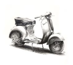 Vespa 150 GS by Andreiuska on DeviantArt Human Figure Sketches, Figure Sketching, Pencil Art Drawings, Art Drawings Sketches, Vespa Illustration, Car Drawing Pencil, Motos Vespa, Bike Sketch, Still Life Drawing